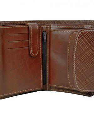 Kožená peňaženka s mriežkovaným dekorom č.8511-1 v hnedej farbe (2)
