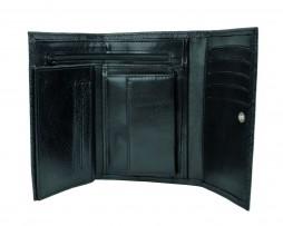Kožená peňaženka s mriežkovaným dekorom č.8559-1 v čiernej farbe (1)