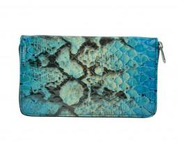 Kožená peňaženka so vzorom hadej kože č.8606 v modrej farbe (1)