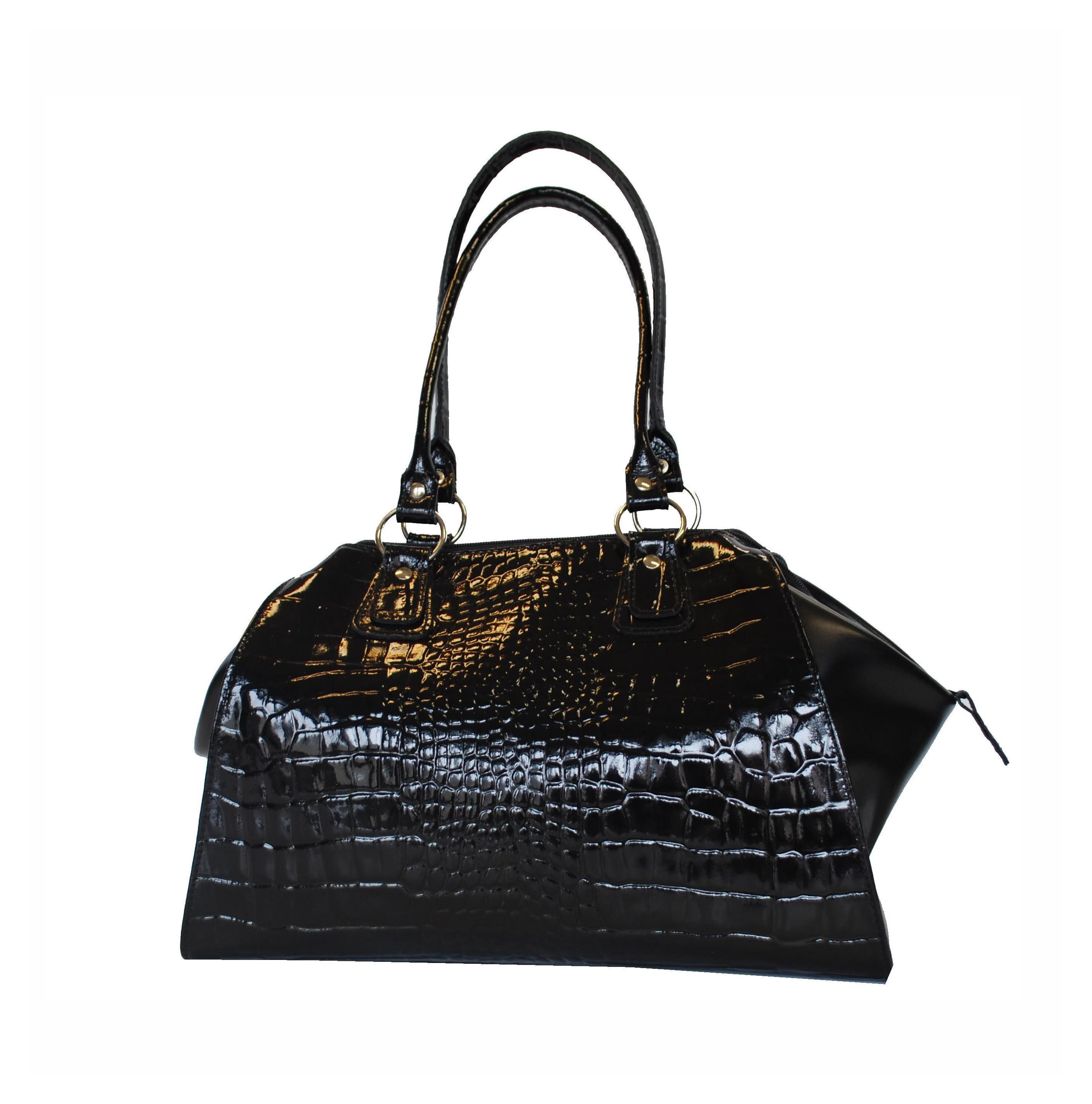 d15196b7f6 Kožená lakovaná kabelka č.8616 v čiernej farbe - Kožená galantéria ...