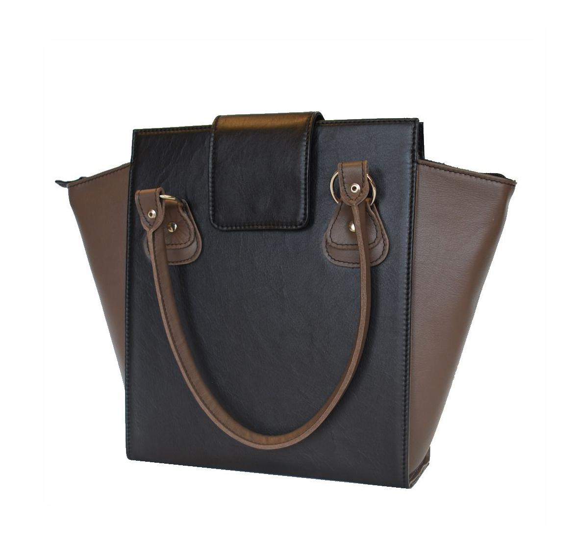 a31c1280d4be Kožená luxusná kabelka č.8644 v čierno hnedej farbe