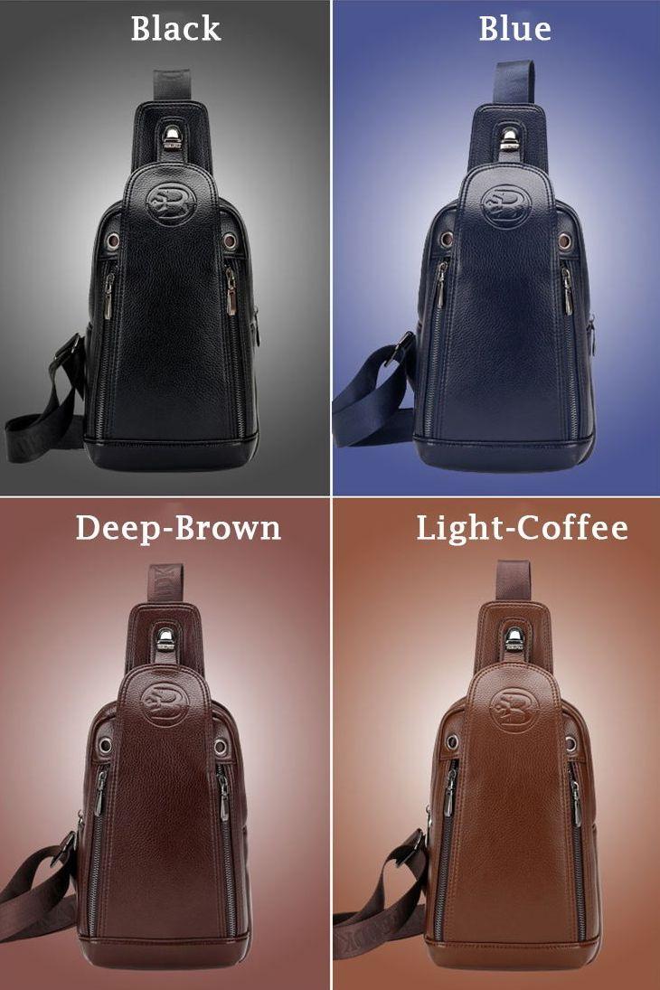 Luxusná pánska kožená taška cez hrudník s prackou vo farbách ... b2168cbc9ad