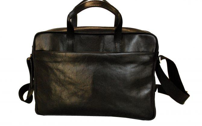 34fdbf14d0c3 Kožená taška na notebook v čiernej farbe č.8367
