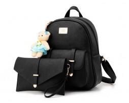 Kožený luxusný ruksak s plyšovým mackom vo farbách + malá kabelka zadarmo4