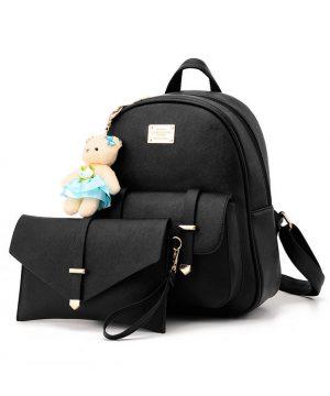 e39fda97c3 Kožený luxusný ruksak s plyšovým mackom vo farbách + malá kabelka zadarmo4