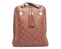 Luxusný kožený ruksak z pravej hovädzej kože so strapcami č.8661 v hnedej farbe (2)