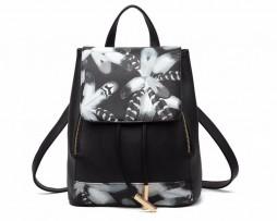 Štýlový kožený dámsky ruksak so vzorom kvetín