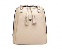 Kožený ruksak z pravej hovädzej kože č.8668 v bežovej farbe s bežovým prešívaním (1)