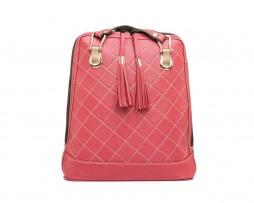 Kožený ruksak z pravej hovädzej kože so strapcami č.8661 v červenej farbe (2)