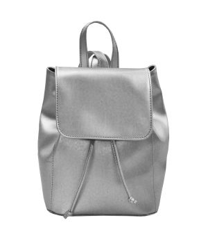 Módny hit Leta 2017 - Moderný kožený ruksak č.8659 v striebornej farbe (1)