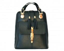 Moderný dámsky kožený ruksak z prírodnej kože v čiernej farbe (2)