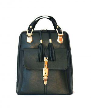 a834e08d15 Moderný dámsky kožený ruksak z prírodnej kože v čiernej farbe (2)