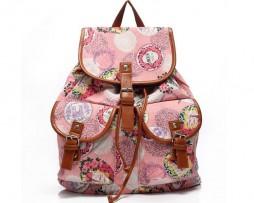 Dámsky plátený ruksak s vreckami s potlačou (3)