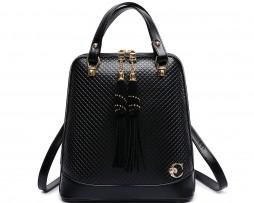 Elegantný dámsky ruksak vyrobený z kože v čiernej farbe (2)