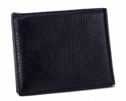 Kožená pánska peňaženka z hrubkovanej kože v čiernej farbe (3)