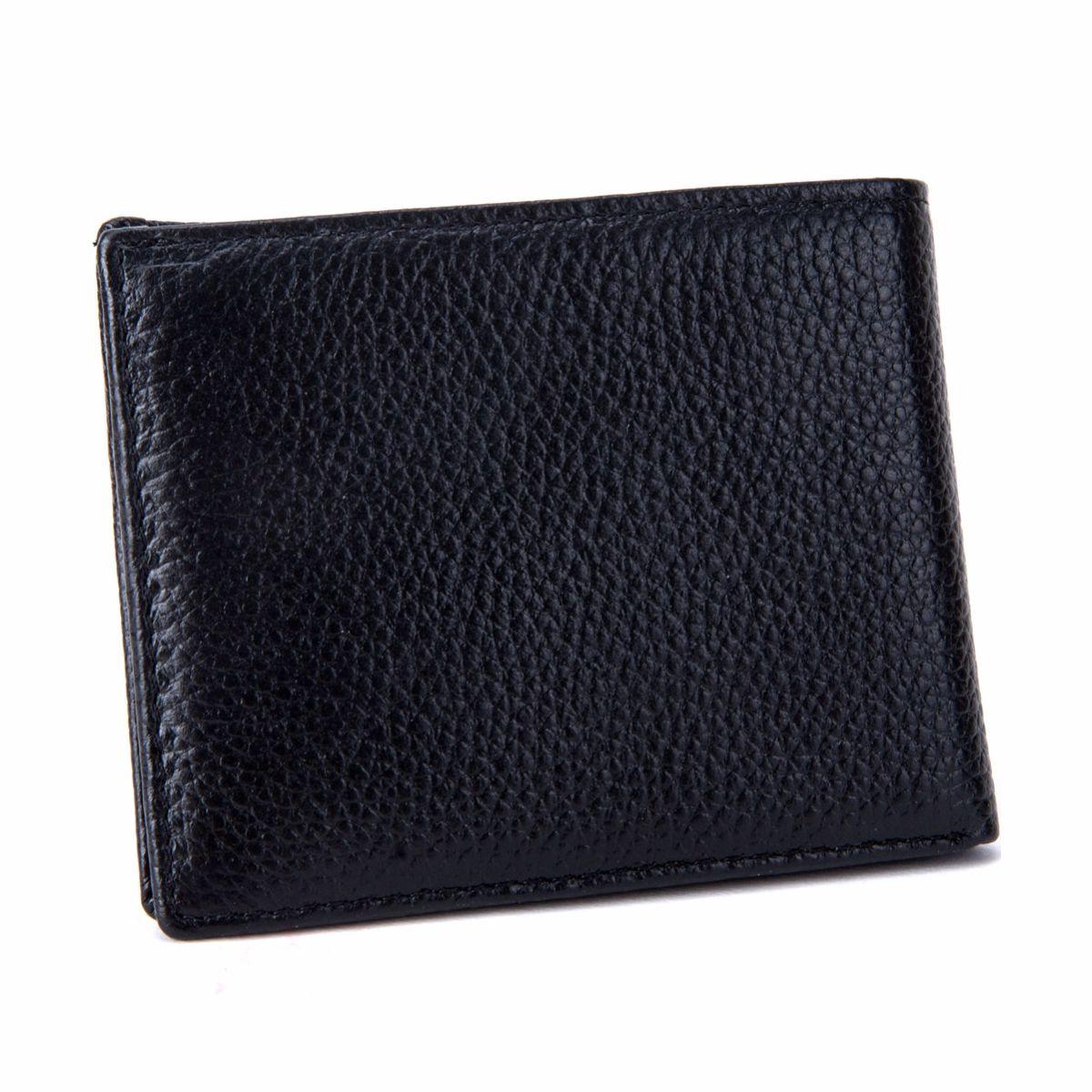 edffcb3b65 Kožená pánska peňaženka z hrubkovanej kože v čiernej farbe