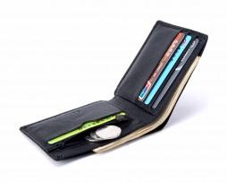 Kožená pánska peňaženka z hrubkovanej kože v čiernej farbe (5)