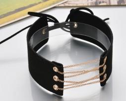 Kožený dekoračný náhrdelník na krk s retiazkou vo farbách3