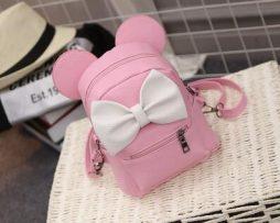 Kožený ružový ruksak s rozkošnou bielou mašličkou