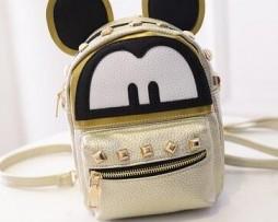 Mickey Mouse ruksak zo syntetickej kože v zlatej farbe
