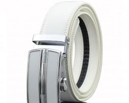 Unisex opasok z kože s automatickou prackou v bielej farbe