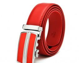 Unisex opasok z kože s automatickou prackou v červenej farbe3