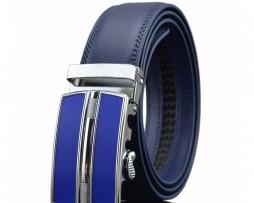 Unisex opasok z kože s automatickou prackou v modrej farbe