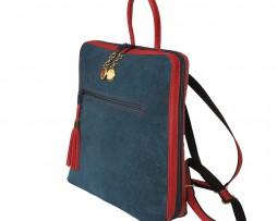 Dámsky ruksak z talianskej prírodnej hovädzej kože, imitácia rifloviny (1)