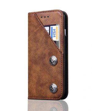 Kryt na kreditnú kartu + stojan pre iPhone X v hnedej farbe
