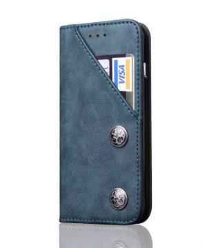 Kryt na kreditnú kartu + stojan pre iPhone X v modrej farbe