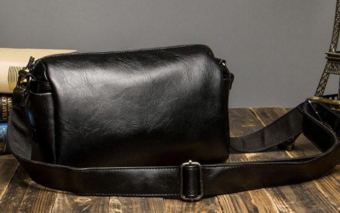 Pánska pracovná kožená taška cez rameno vo farbách. Taška je vyrobená zo syntetickej kože (2)