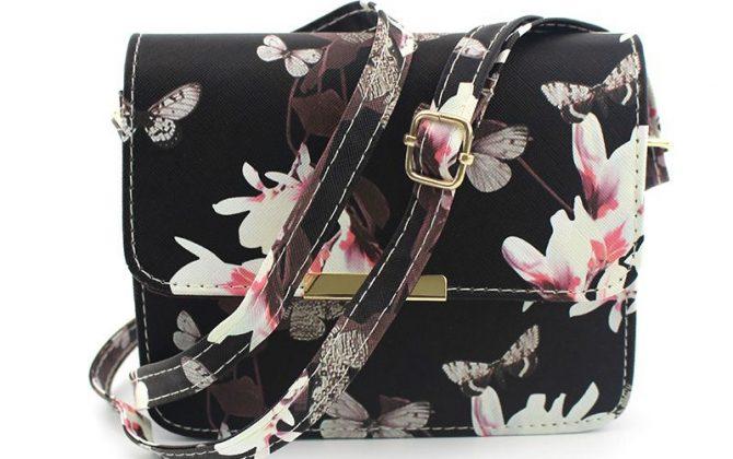 Dámska kabelka cez rameno s potlačou s nastaviteľným popruhom vo farbách (5)