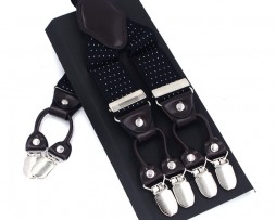 Kožené pánske traky s elastickým pásom s bodkami v čiernej farbe