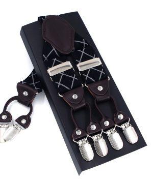 Kožené pánske traky s elastickým pásom s čiernym dekorom