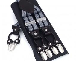 Kožené pánske traky s elastickým pásom s dekorom bielych pásov
