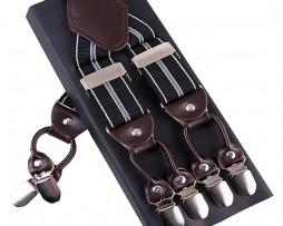 Kožené pánske traky s elastickým pásom s dekorom pásov