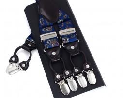Kožené pánske traky s elastickým pásom s dekorom v modrej farbe