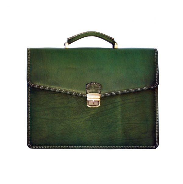 Luxusná kožená pracovná aktovka v zelenej farbe (1)