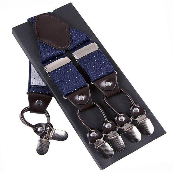 Pánske kožené traky s elastickým pásom s bodkami v modrej farbe