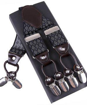 Pánske kožené traky s elastickým pásom s čiernym dekorom