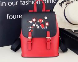Kožený ruksak s vyšívaním v červeno čiernej farbe (1)