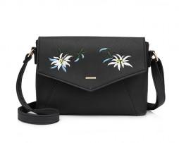 Originálna kožená kabelka s vyšívaním v čiernej farbe Luxusná kolekcia kožených kabeliek vyžarujúca originalitu