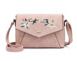 Originálna kožená kabelka s vyšívaním v ružovej farbe. Kolekcia obsahuje množstvo farebných motívov v originálnych vzorov pre dievčatá