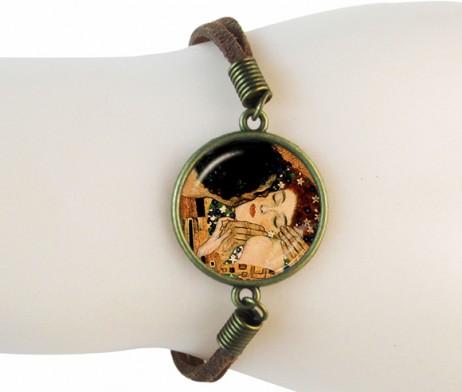 Ručne-vyrobený-kožený-náramok-s-motívom-Gustav-Klimt