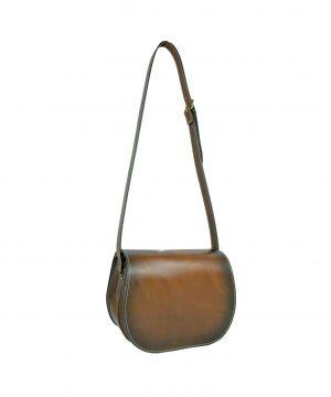 Unikátna Kožená kabelka, ručne tieňovaná, uzatváranie - skrytý magnet (6)