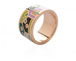 Elegantná brošňa v podobe prsteňa v zlatej farbe - vzor 2