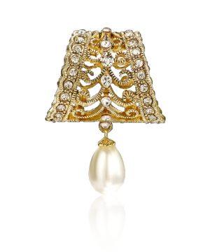 Exkluzívna ozdobná spona na šatku a šál v zlatej farbe (4)