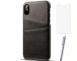 Kožený kryt na kreditnú kartu pre iPhone X so stylusom a ochranným sklom, čierna farba