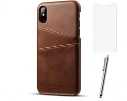Kožený kryt na kreditnú kartu pre iPhone X so stylusom a ochranným sklom, hnedá farba
