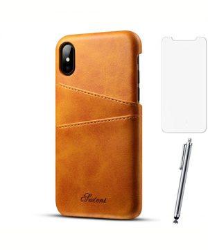Kožený kryt na kreditnú kartu pre iPhone X so stylusom a ochranným sklom, khaki farba